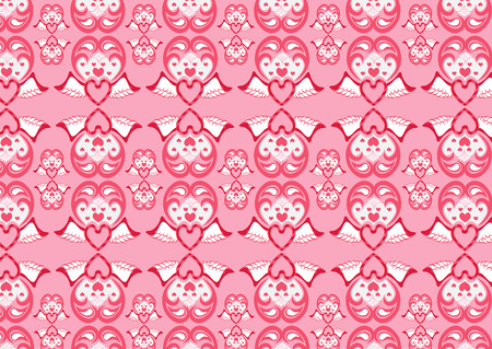 illustration of retro abstract heart pattern on the pink background. Vector