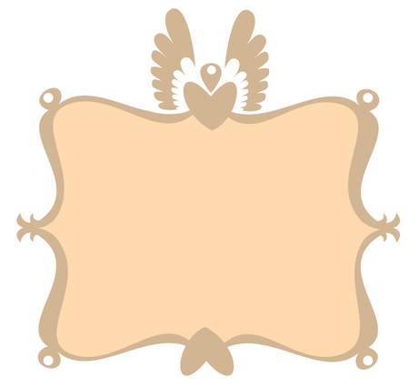 illustration of  retro decorative frame with heart and scroll design elements  Vector