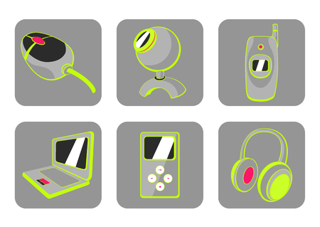 illustration of glossy technological gadgets icons Stock Vector - 6939785