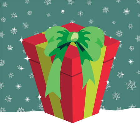illustration of Christmas presents box on the green background with the white snowflakes Stock Vector - 6939813