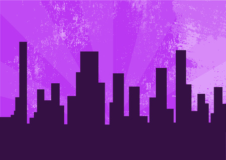 illustration of city at the night on the violet background  Stock Vector - 6939591