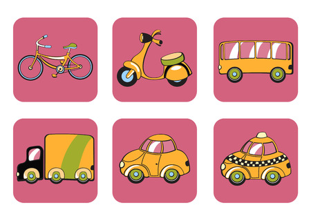 Illustration of transportation icons.  Vector