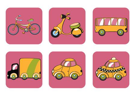 mode of transportation: Illustrazione delle icone di trasporto.