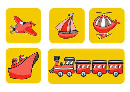 cartoon land: Illustration of transportation icons.