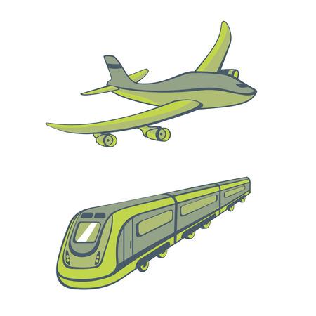 mode of transport: Ilustraci�n de modos de transporte. Iconos de transporte cute