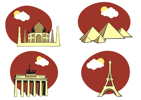 illustration of All Over the World Travel.  Vector