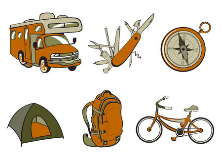 illustration of Outdoor and camping icons.  Vector