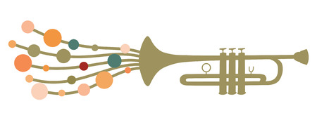 illustration of trumpet silhouette decorated with colored circle drops, as a symbol of melody. Vector