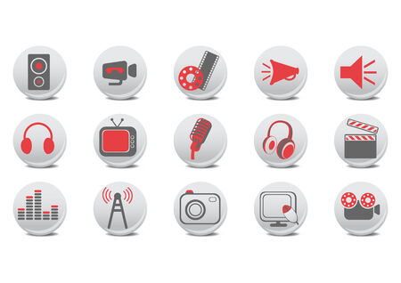 sound box: illustration of video and audio buttons .You can use it for your website, application or presentation.
