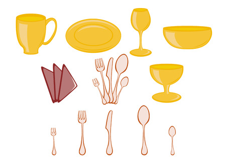 eating utensil: illustration of Dining set. Kitchenware design elements