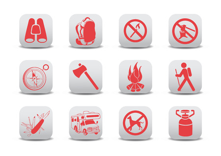 fire car: illustration of  icon set or design elements relating to camping tourism