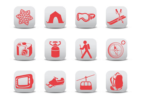 illustration of winter camping/ski icons .You can use it for your website, application or presentation Stock Vector - 7068291