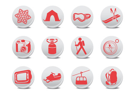 illustration of winter camping/ski buttons .You can use it for your website, application or presentation Stock Vector - 7068307