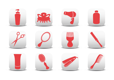 hair dryer: Vector illustration of  icon set or design elements relating to hairdressing salon.