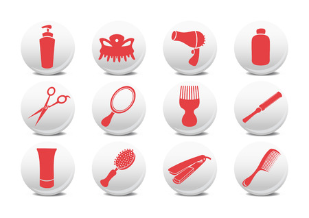 illustration of  buttons set or design elements relating to hairdressing salon.  Vector