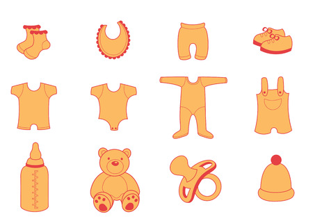 illustration set of baby Clothing and Accessories Icons Vector