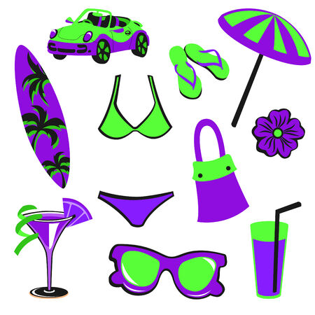 illustration of woman accessories set related to summer glamour fashion. Vector