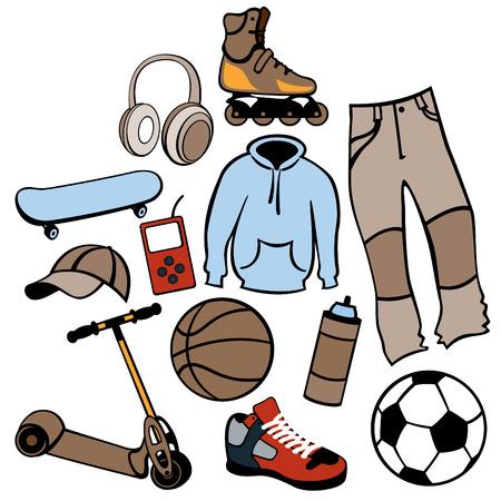 urban life: Ilustraci�n del conjunto de accesorios de hombre relacionados con el estilo de vida urbano.