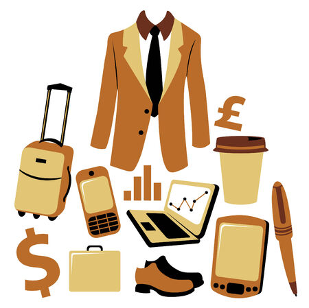 illustration of business man accessories set. Vector