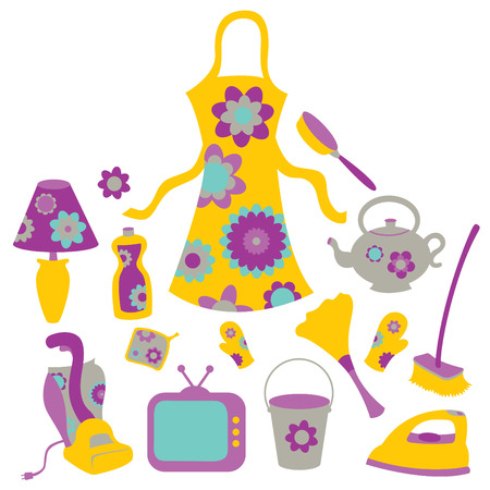 kitchen cleaning: illustration of housewife accessories icon set.