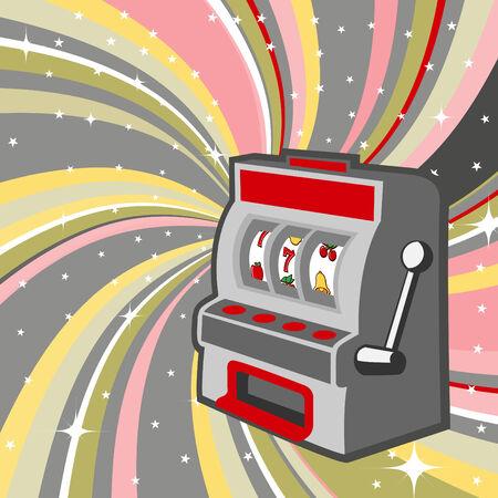 illustration of gambling machine on the beautifull shiny background Vector