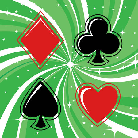 shiny suit: Vector illustration of gambling cards signs set on the beautifull background, decorated with stars and waves.