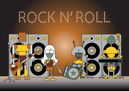 illustration of the robots musical band standing on the stage, holding the microphone, guitar, drums and other instruments.