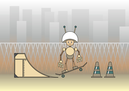 Illustration of comic robot with the skateboard on the urban background. Vector