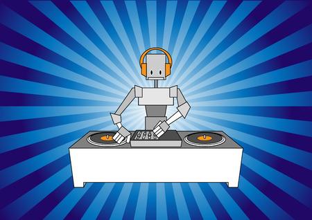 Illustration of dj robot on the beautiful, modern background. Vector
