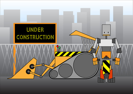 quot: Illustration of &quot,under construction&quot, design, includes the worker and bulldozer