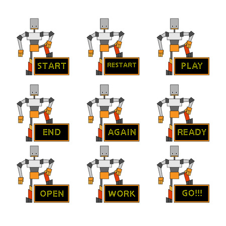 illustration of funky robots holding the placard. Vector