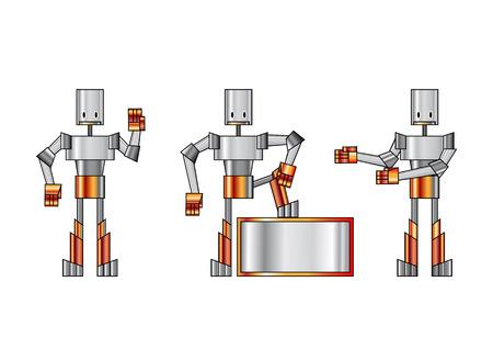 illustration of three funky robots. Vector