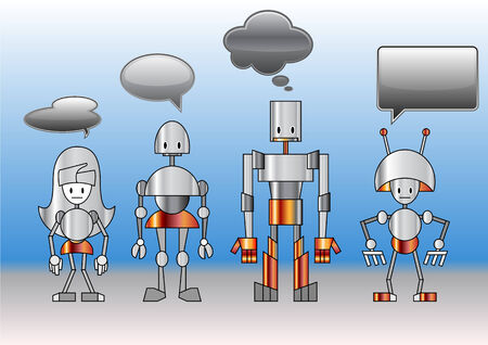 illustration of funny robots family decorated with comics bubbles  Vector