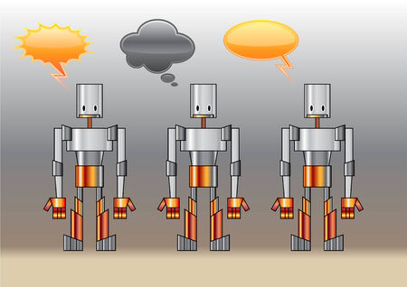 illustration of funny robots decorated with comics bubbles Vector