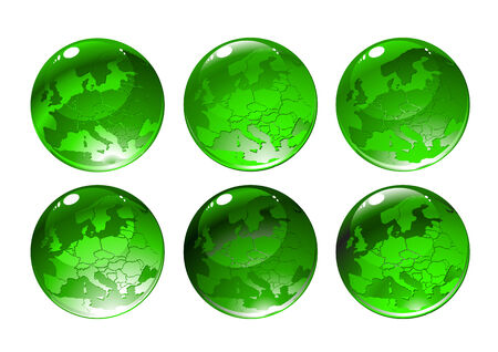 illustration of green globe icons with different countries Vector