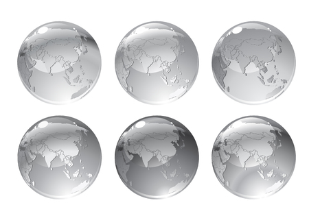 illustration of gray globe icons with different continents. Vector