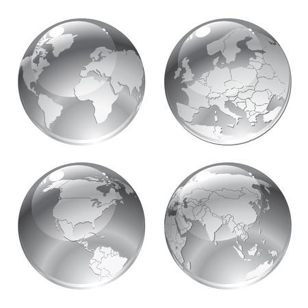 Illustration des ic�nes de globe gris avec diff�rents continents.