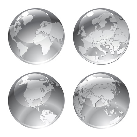 Illustration of gray globe icons with different continents. Illustration