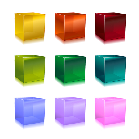 Vector Illustration of modern glass cubes in different colors. Vectores
