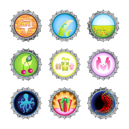 Vector illustration of bottle caps set, decorated with different objects. Stock Vector - 7327185