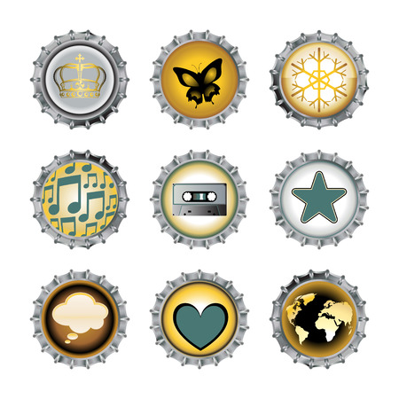 Vector illustration of bottle caps set, decorated with different objects Vectores