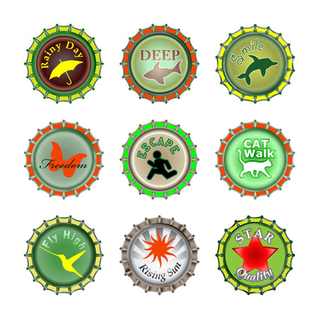 Vector illustration of bottle caps set, decorated with different objects. Stock Vector - 7327182