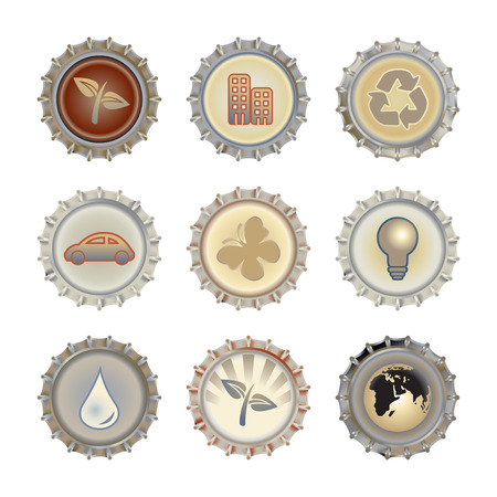 Vector illustration of bottle caps set, decorated with different objects related to enviroment and ecology.