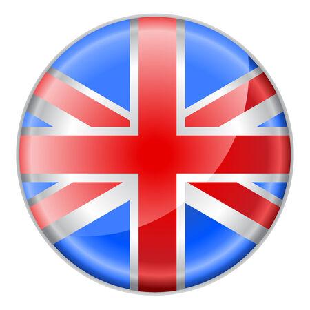 british culture: Ilustraci�n vectorial de bot�n redondo decorados con la bandera de Inglaterra,