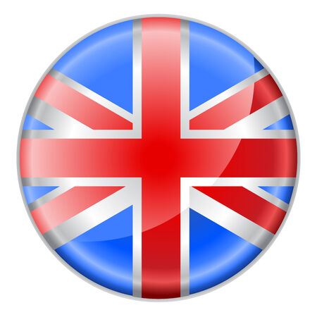 english culture: Vector illustration of round button  decorated with the flag of england,