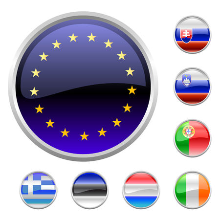 Vector Illustration of round buttons set, decorated with the flags of european countries. Stock Vector - 7327178