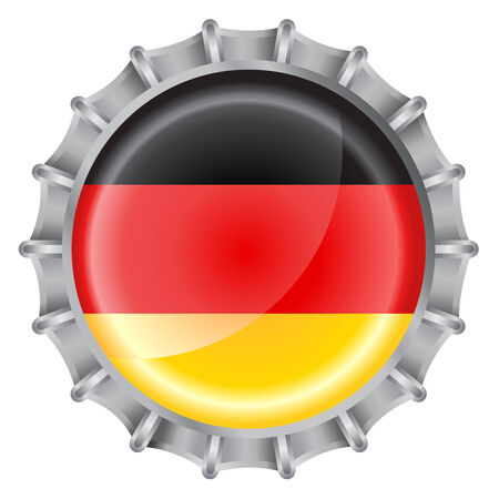 Vector illustration of bottle cap decorated with the flags of german Vector