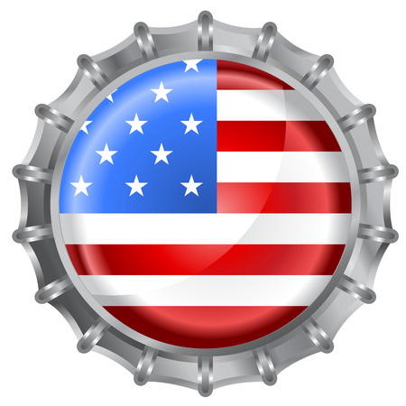 Vector illustration of bottle cap decorated with the american flag Vector
