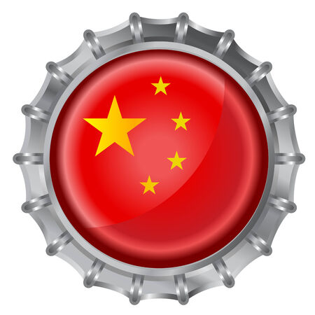Vector illustration of bottle cap decorated with the flags of china Vector