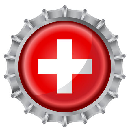 Vector illustration of bottle cap decorated with the flags of switzerland Vector